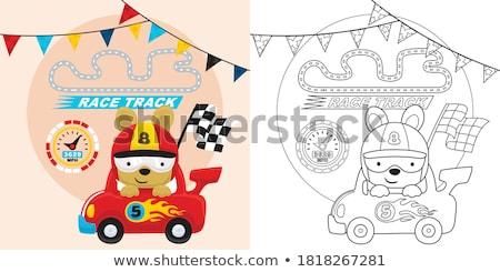 漫画 笑みを浮かべて レースカー ドライバ 子犬 ストックフォト © cthoman
