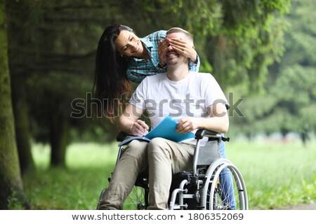 Stockfoto: Vrouw · naar · vader · vergadering · rolstoel · gelukkig