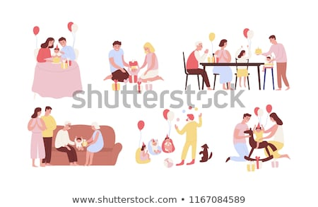 Children Are Sitting And Eating Cakes Vector. Isolated Illustration Stock photo © pikepicture