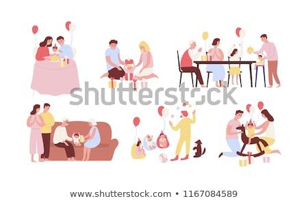 ciasto · ilustracja · posiedzenia · dziewczyna · strony · urodziny - zdjęcia stock © pikepicture