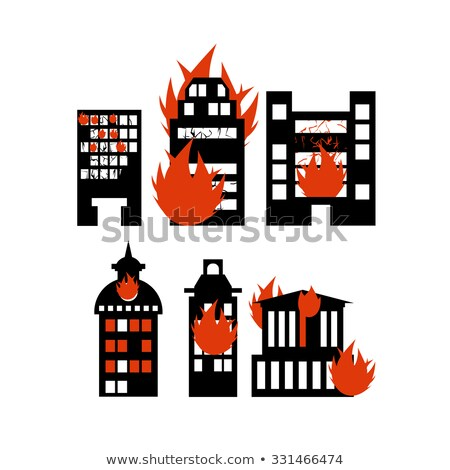 fire building set of icons lit city buildings emergency incid stock photo © popaukropa