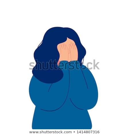 Stock photo: Crying Young Girl With Hands On Face Vector. Isolated Illustration