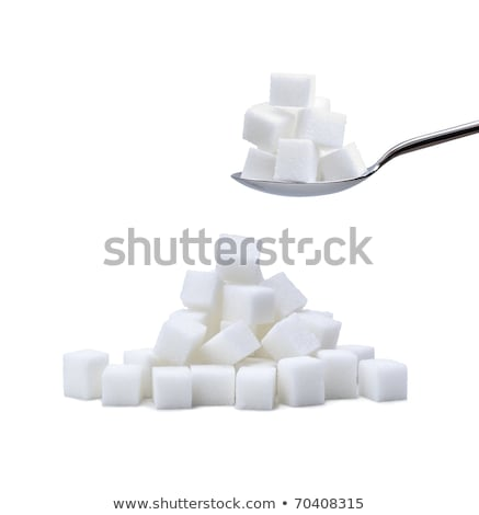 Stock photo: pile of white sugar cubes