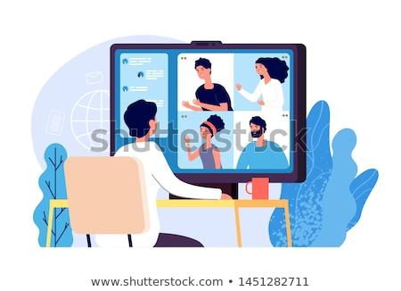 вебинар · Компьютерная · мышь · стороны · рисунок · слово · черный - Сток-фото © andreypopov