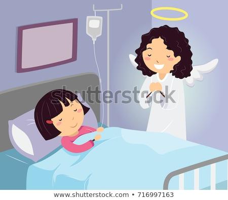 Dziecko dziewczyna szpitala opiekun anioł ilustracja Zdjęcia stock © lenm