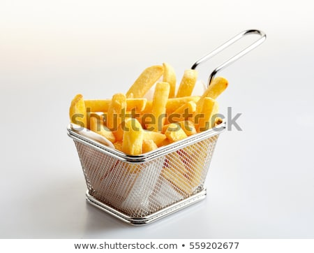 Stockfoto: Basket Of Freshly Made French Fries On White Studio Background