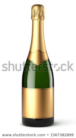 Zdjęcia stock: Szampana · butelki · ściany · przestrzeni · drewna