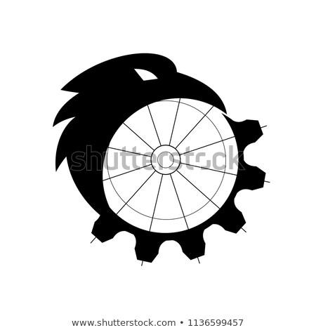 raven merging to cog icon stock photo © patrimonio