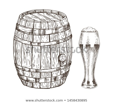 Oak Container and Glass of Frothy Ale Graphic Art Stock photo © robuart