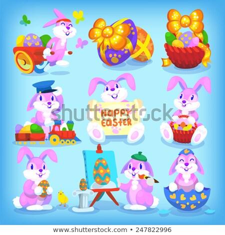 Iyi paskalyalar tavşan yumurta tren örnek Paskalya Stok fotoğraf © colematt