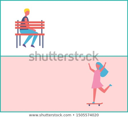 Mensen park meisje skateboarding eenzaam man Stockfoto © robuart