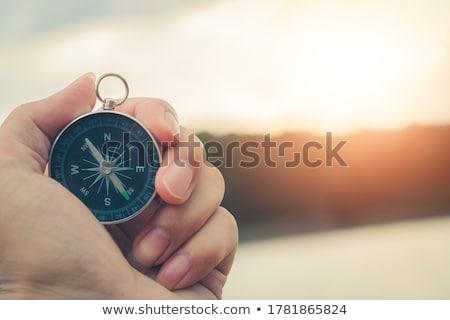 metálico · bússola · estúdio · fotografia · isolado · branco - foto stock © make