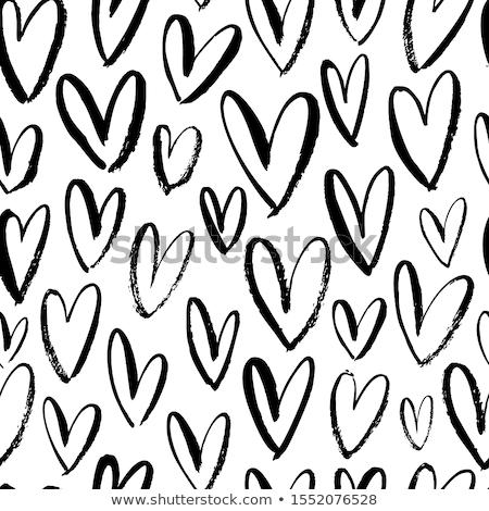 kézzel · rajzolt · szívek · szett · valentin · nap · vektor · firka - stock fotó © ivaleksa