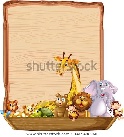 Fa tábla sablon zsiráf majom illusztráció fa Stock fotó © colematt