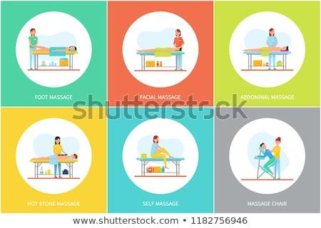 Atrás abdominal atención masaje carteles vector Foto stock © robuart
