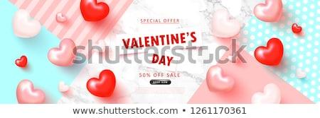 Dia dos namorados cartão azul vermelho coração caras Foto stock © Kotenko