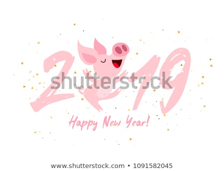 旧正月 バナー 赤 豚 紙吹雪 ウェブ ストックフォト © cienpies
