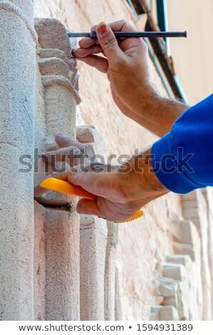 artesão · trabalhando · martelo · mãos · edifício · construção - foto stock © kzenon