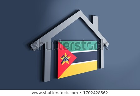 Casa bandeira Moçambique branco casas Foto stock © MikhailMishchenko