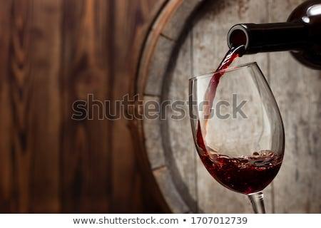 Rode wijn houten achtergrond kunst drinken tekening Stockfoto © colematt