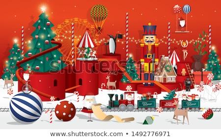 Weihnachten Rentiere Baum Illustration Natur Hintergrund Stock foto © colematt