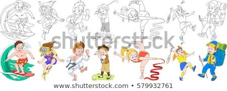 Foto stock: Natação · menino · desenho · animado · livro · para · colorir · preto · e · branco · ilustração