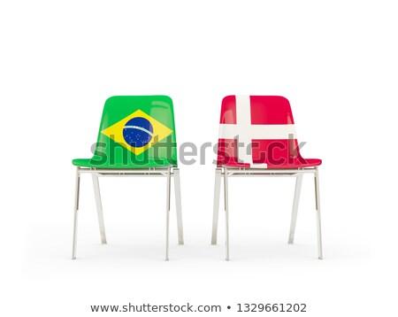 Twee stoelen vlaggen Brazilië Denemarken geïsoleerd Stockfoto © MikhailMishchenko