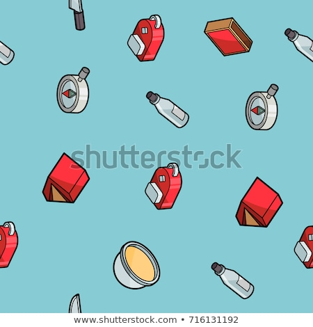 Survival kit color outline isometric icons Stock photo © netkov1