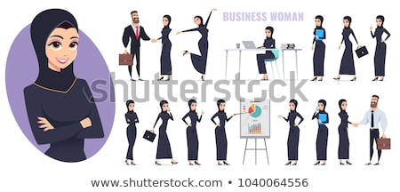 Arab business woman in a hijab flat cartoon vector illustration  Stock photo © NikoDzhi