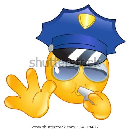 Polizist Emoticon Hand Gesicht Sicherheit Zeichen Stock foto © yayayoyo