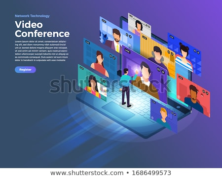 isometric flat vector concept of online conference business meeting webinar stock photo © tarikvision