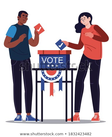 illustration of a ballot box with people walk stock photo © doomko
