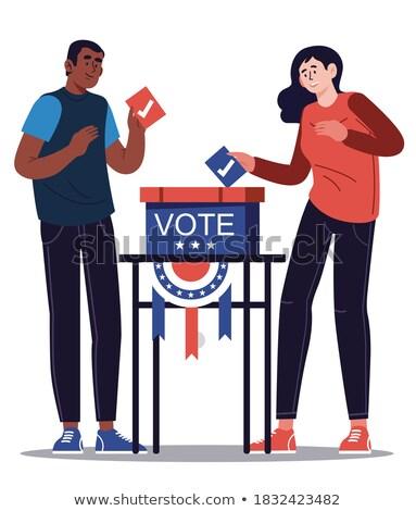 illusztráció · szavazócédula · doboz · emberek · séta · terv - stock fotó © doomko