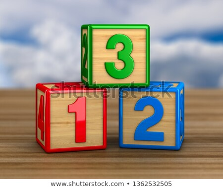 block with number on wooden surface 3d illustration stock photo © iserg