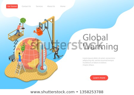 Izometryczny wektora lądowanie strona szablon globalne ocieplenie Zdjęcia stock © TarikVision
