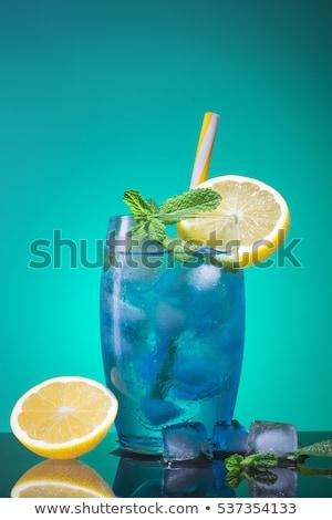 Kék ital jégkockák fehér izolált gyümölcs Stock fotó © dla4