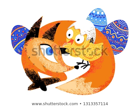 Red fox and chicken easter isolated illustration stock photo © heliburcka