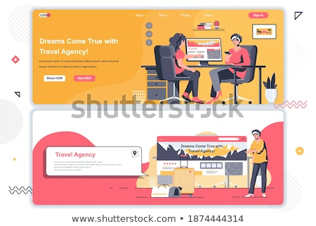 Stock photo: Web site design template on the theme of travel, vacation, adventure. Landing page concepts for webs