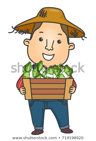 Man Farmer Income Money Crate Stock photo © lenm