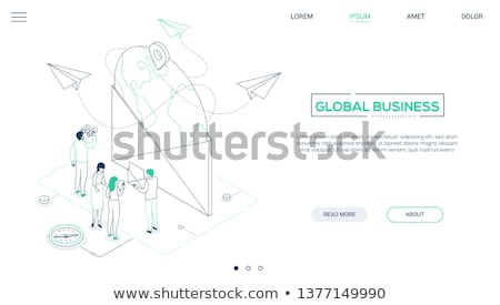 Global business - line design style isometric web banner Stock photo © Decorwithme
