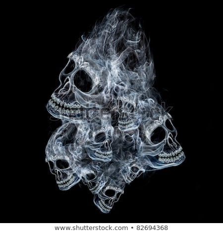 Stock photo: Blue Grunge Skull Dark Background