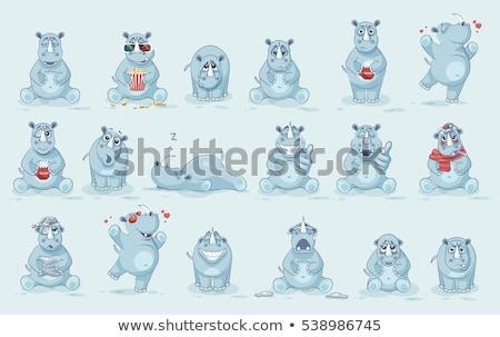 Feliz rinoceronte ilustração natureza projeto Foto stock © bluering