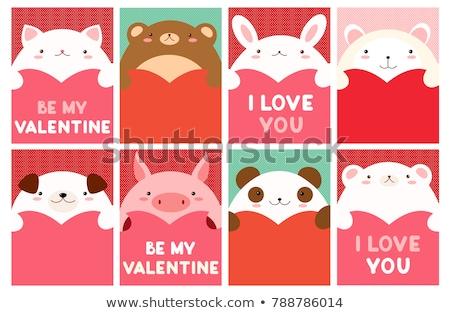 Cute Valentine's day card with polar bear Stock photo © balasoiu