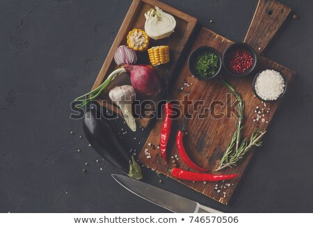 Assorted indian food on dark wooden background. Dishes and appet Stock photo © galitskaya