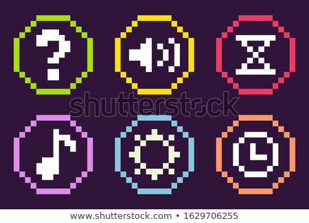 pixel icons of game sound and note time clock stock photo © robuart
