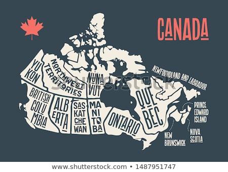 mapa · Canadá · cartaz · preto · e · branco · imprimir · tshirt - foto stock © foxysgraphic