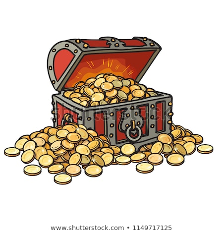 Treasure Chest Heap Golden Coins Color Vector Stock photo © pikepicture