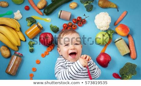 Sebze bebek maması cam sağlıklı beslenme beslenme ahşap masa Stok fotoğraf © dolgachov