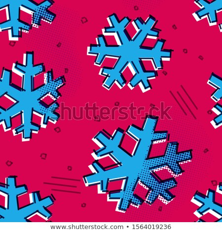 Christmas seamless snowflakes pattern with memphis styled snow stars for holiday ornaments, corporat Stock photo © SwillSkill