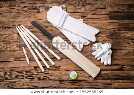 Cricket Accessories And Tools On Textured Backdrop Stock photo © AndreyPopov